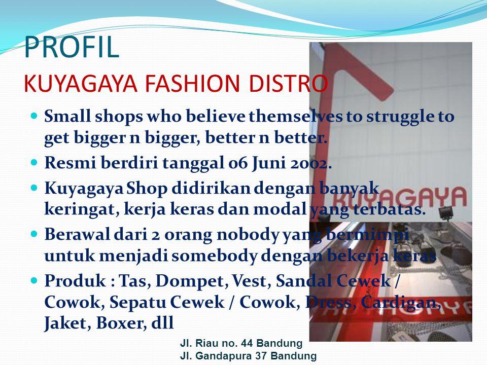 VISI DAN MISI VISI : Menjadi distro tujuan wisata belanja bagi remaja dan dewasa muda kota Bandung dan sekitarnya tahun 2010 MISI : Menjadi ikon fashion anak muda Bandung pada khususnya dan di luar Bandung pada umumnya, yang menyediakan produk fashion up to date dengan harga terjangkau