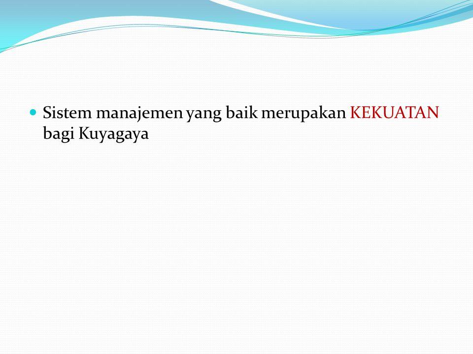 Sistem manajemen yang baik merupakan KEKUATAN bagi Kuyagaya