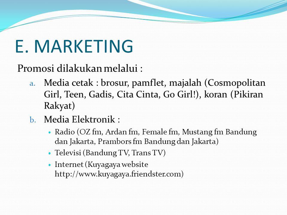 E. MARKETING Promosi dilakukan melalui : a. Media cetak : brosur, pamflet, majalah (Cosmopolitan Girl, Teen, Gadis, Cita Cinta, Go Girl!), koran (Piki