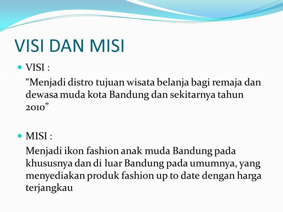 """VISI DAN MISI VISI : """"Menjadi distro tujuan wisata belanja bagi remaja dan dewasa muda kota Bandung dan sekitarnya tahun 2010"""" MISI : Menjadi ikon fas"""