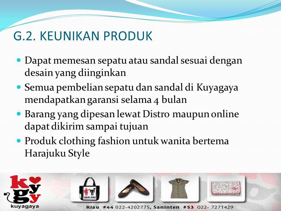 G.2. KEUNIKAN PRODUK Dapat memesan sepatu atau sandal sesuai dengan desain yang diinginkan Semua pembelian sepatu dan sandal di Kuyagaya mendapatkan g