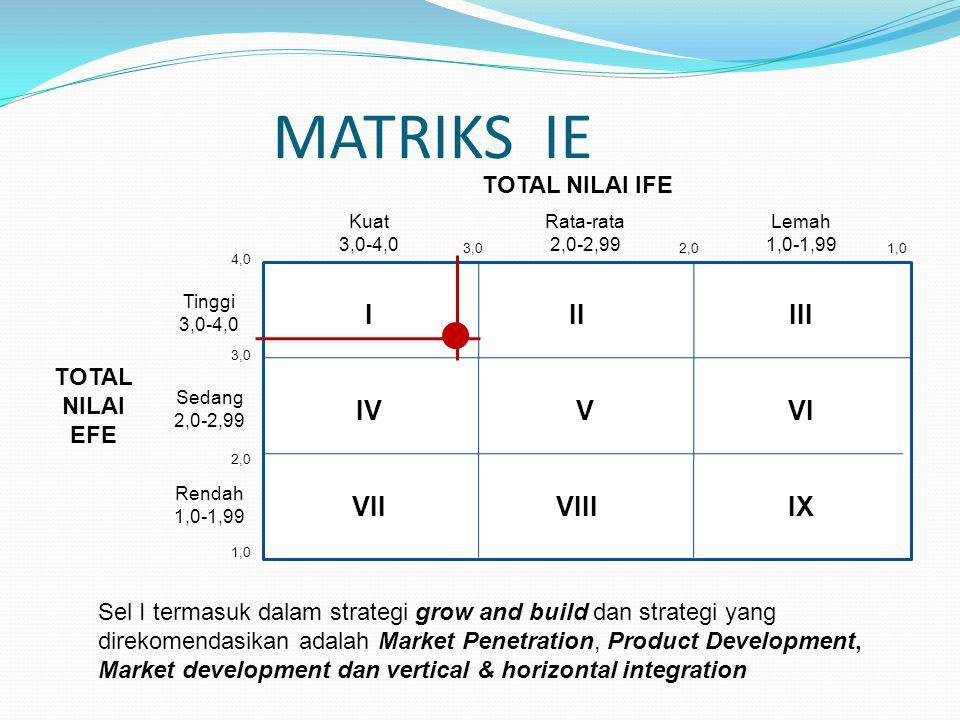 MATRIKS IE IIIIII VIVIV VIIVIIIIX Kuat 3,0-4,0 Rata-rata 2,0-2,99 Lemah 1,0-1,99 Tinggi 3,0-4,0 Sedang 2,0-2,99 Rendah 1,0-1,99 TOTAL NILAI EFE TOTAL
