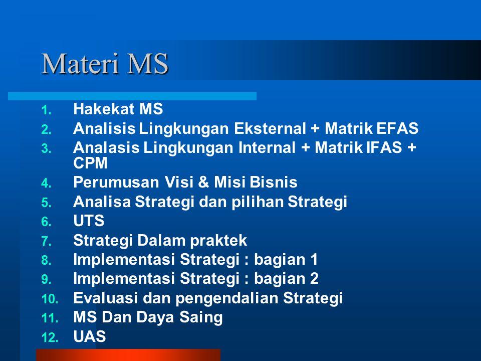 Materi MS 1. Hakekat MS 2. Analisis Lingkungan Eksternal + Matrik EFAS 3. Analasis Lingkungan Internal + Matrik IFAS + CPM 4. Perumusan Visi & Misi Bi