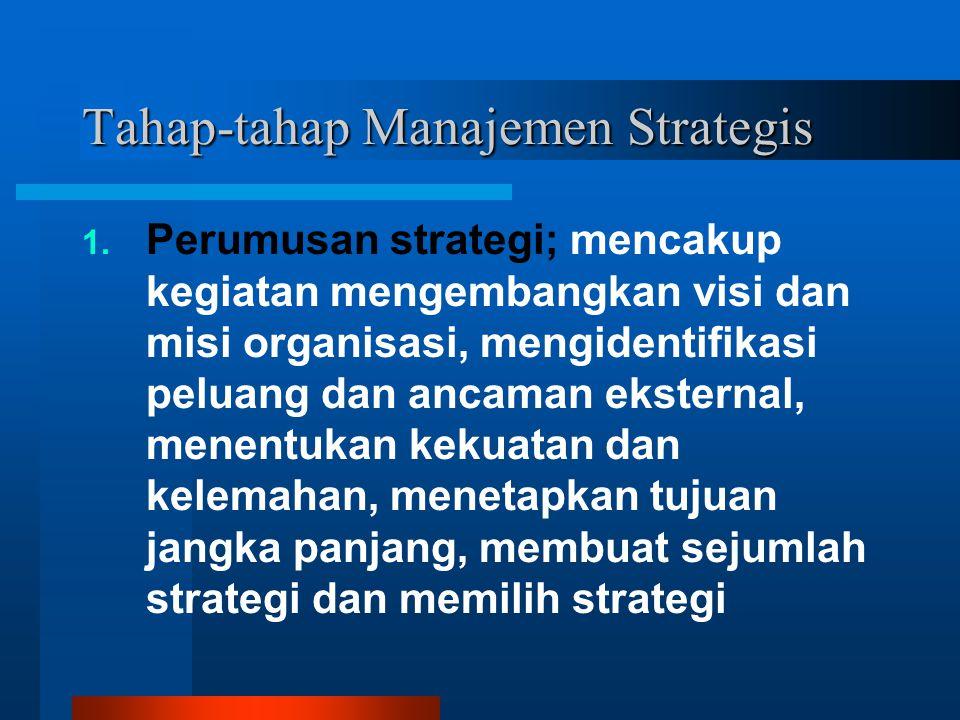 Tahap-tahap Manajemen Strategis 1. Perumusan strategi; mencakup kegiatan mengembangkan visi dan misi organisasi, mengidentifikasi peluang dan ancaman