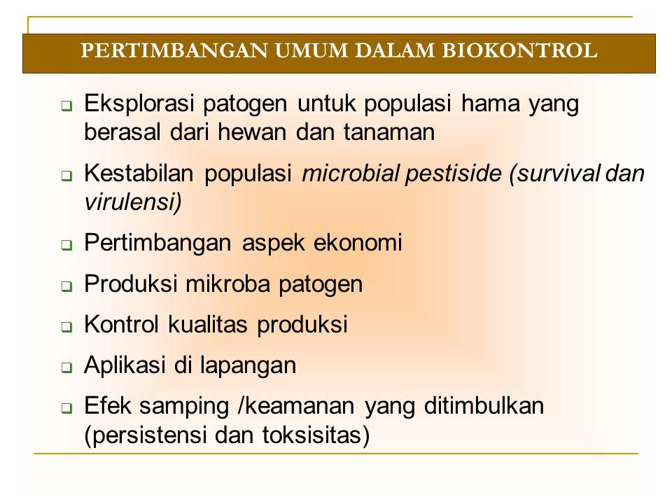 SYARAT MICROBIAL PESTICIDES Bersifat spesifik terhadap inang tertentu Aman bagi populasi non target (manusia, tanaman dan hewan) Efektivitasnya tidak terpengaruh jika terjadi variasi genetik dalam populasi hama Lebih baik diterapkan pada program pengendalian hama secara terpadu