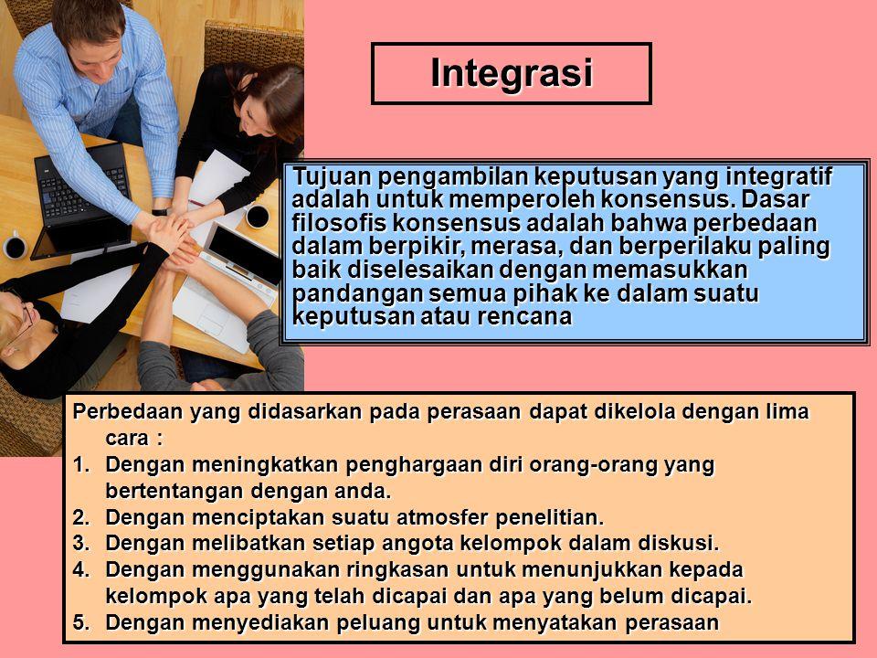 Integrasi Tujuan pengambilan keputusan yang integratif adalah untuk memperoleh konsensus.