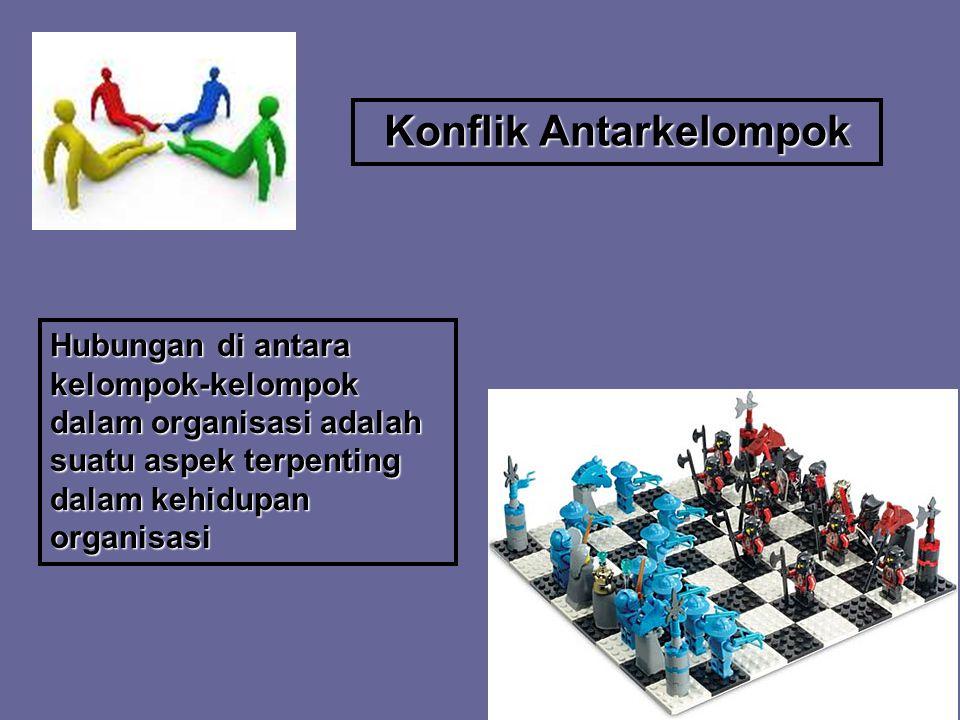 Konflik Antarkelompok Hubungan di antara kelompok-kelompok dalam organisasi adalah suatu aspek terpenting dalam kehidupan organisasi