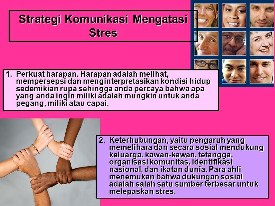 Strategi Komunikasi Mengatasi Stres 1.Perkuat harapan.