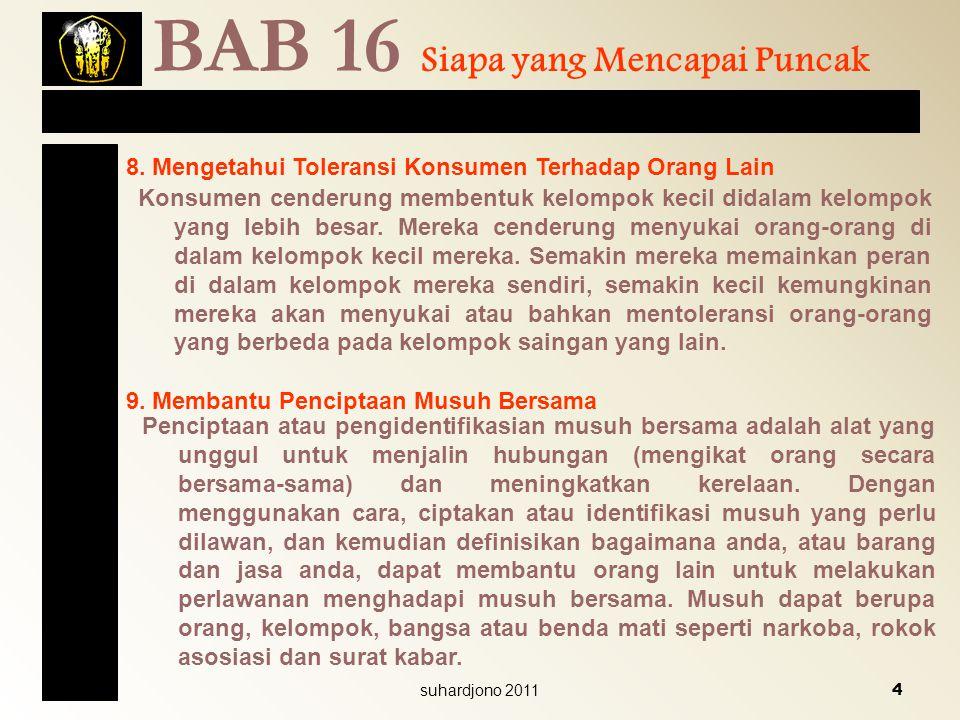 BAB 16 Siapa yang Mencapai Puncak 8. Mengetahui Toleransi Konsumen Terhadap Orang Lain Konsumen cenderung membentuk kelompok kecil didalam kelompok ya