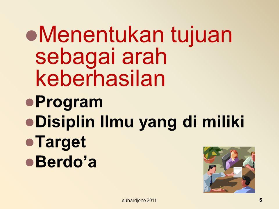 Menentukan tujuan sebagai arah keberhasilan Program Disiplin Ilmu yang di miliki Target Berdo'a 5 suhardjono 2011
