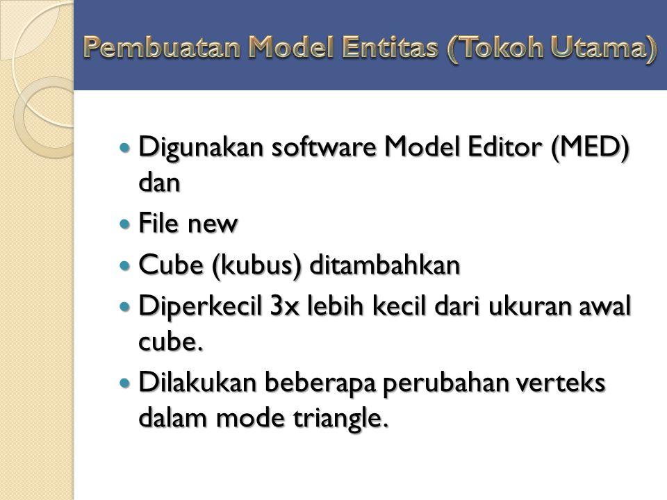 Digunakan software Model Editor (MED) dan Digunakan software Model Editor (MED) dan File new File new Cube (kubus) ditambahkan Cube (kubus) ditambahka