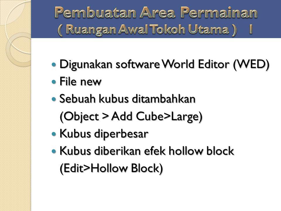 Digunakan software World Editor (WED) Digunakan software World Editor (WED) File new File new Sebuah kubus ditambahkan Sebuah kubus ditambahkan (Objec