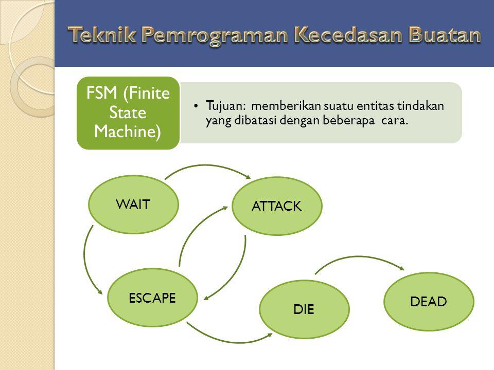 Tujuan: memberikan suatu entitas tindakan yang dibatasi dengan beberapa cara. FSM (Finite State Machine) WAIT ESCAPE DIE DEAD ATTACK