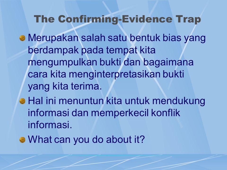 The Confirming-Evidence Trap Merupakan salah satu bentuk bias yang berdampak pada tempat kita mengumpulkan bukti dan bagaimana cara kita menginterpret