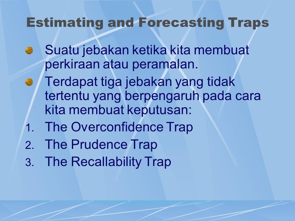 Estimating and Forecasting Traps Suatu jebakan ketika kita membuat perkiraan atau peramalan. Terdapat tiga jebakan yang tidak tertentu yang berpengaru