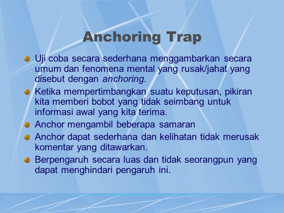 Anchoring Trap Uji coba secara sederhana menggambarkan secara umum dan fenomena mental yang rusak/jahat yang disebut dengan anchoring. Ketika memperti