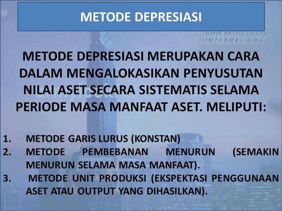 METODE DEPRESIASI MERUPAKAN CARA DALAM MENGALOKASIKAN PENYUSUTAN NILAI ASET SECARA SISTEMATIS SELAMA PERIODE MASA MANFAAT ASET. MELIPUTI: 1.METODE GAR