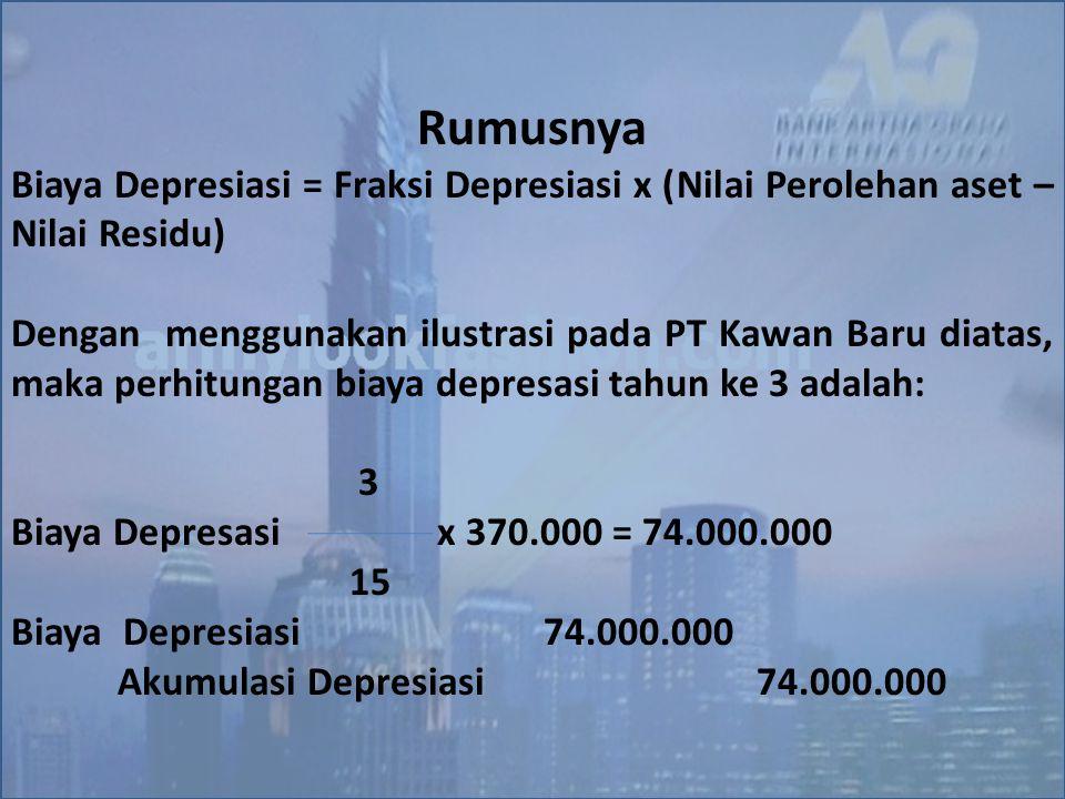 Rumusnya Biaya Depresiasi = Fraksi Depresiasi x (Nilai Perolehan aset – Nilai Residu) Dengan menggunakan ilustrasi pada PT Kawan Baru diatas, maka per