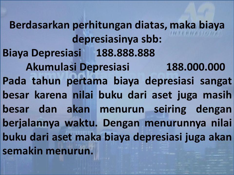 Berdasarkan perhitungan diatas, maka biaya depresiasinya sbb: Biaya Depresiasi188.888.888 Akumulasi Depresiasi188.000.000 Pada tahun pertama biaya dep