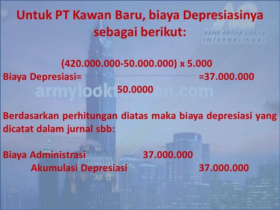 Untuk PT Kawan Baru, biaya Depresiasinya sebagai berikut: (420.000.000-50.000.000) x 5.000 Biaya Depresiasi==37.000.000 50.0000 Berdasarkan perhitunga