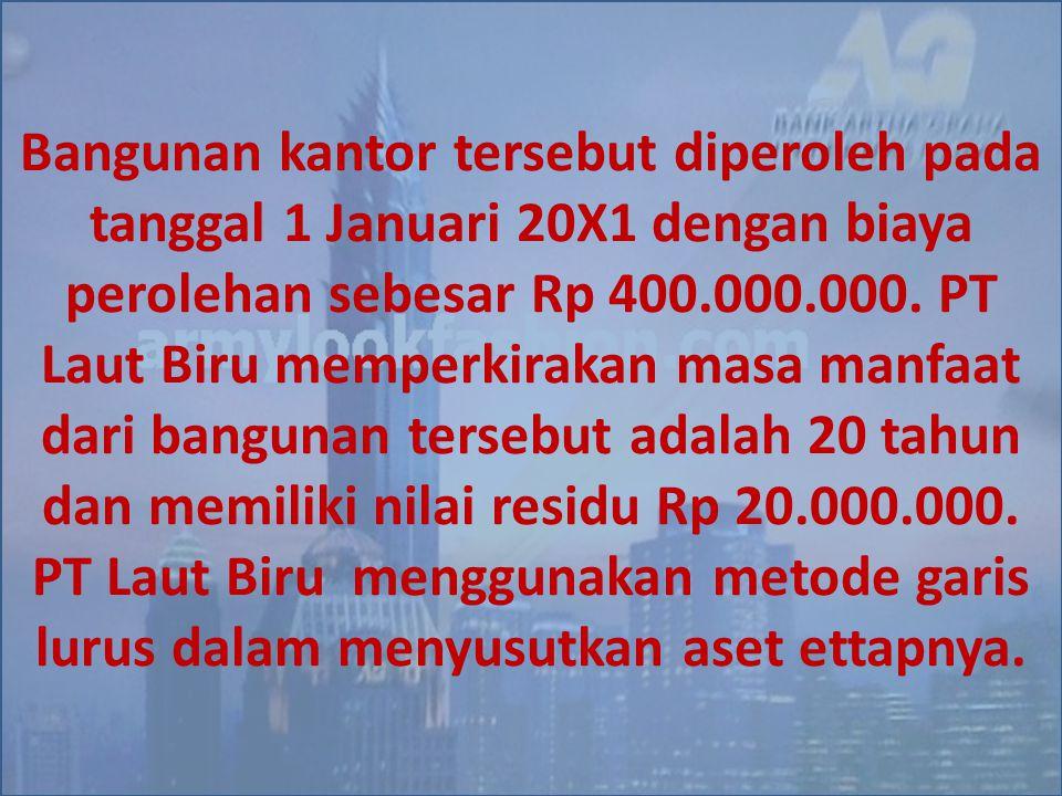 Bangunan kantor tersebut diperoleh pada tanggal 1 Januari 20X1 dengan biaya perolehan sebesar Rp 400.000.000. PT Laut Biru memperkirakan masa manfaat