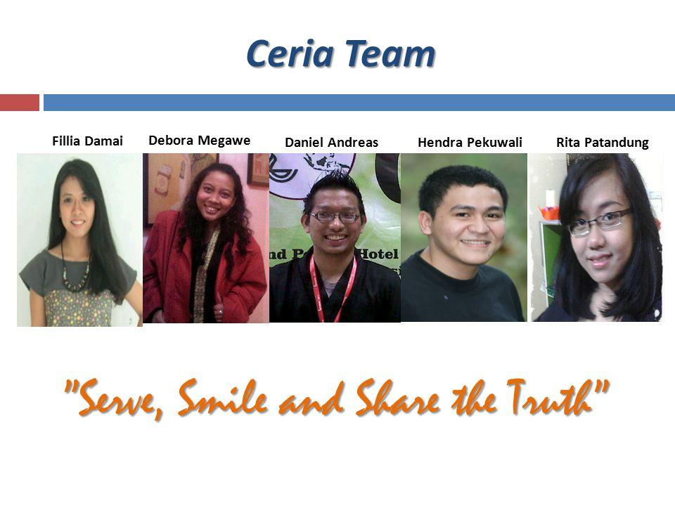 "Ceria Team Fillia Damai Debora Megawe Daniel AndreasHendra Pekuwali ""Serve, Smile and Share the Truth"" Rita Patandung"