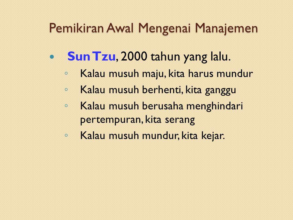 Pemikiran Awal Mengenai Manajemen Sun Tzu, 2000 tahun yang lalu.
