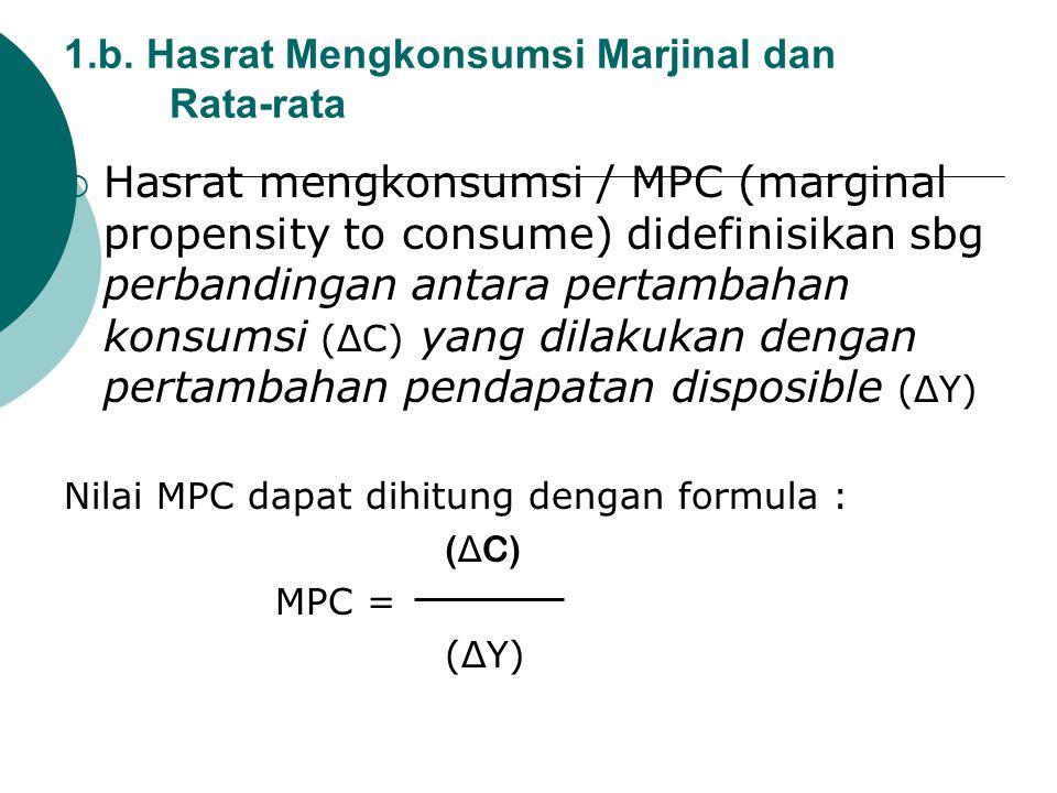 1.b. Hasrat Mengkonsumsi Marjinal dan Rata-rata  Hasrat mengkonsumsi / MPC (marginal propensity to consume) didefinisikan sbg perbandingan antara per