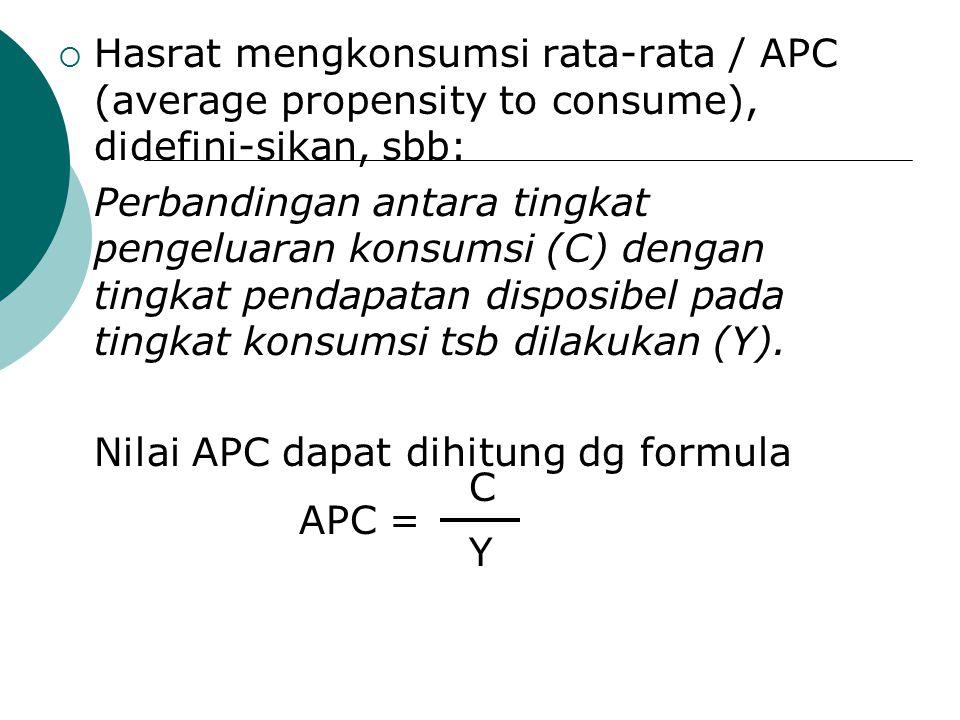  Hasrat mengkonsumsi rata-rata / APC (average propensity to consume), didefini-sikan, sbb: Perbandingan antara tingkat pengeluaran konsumsi (C) denga