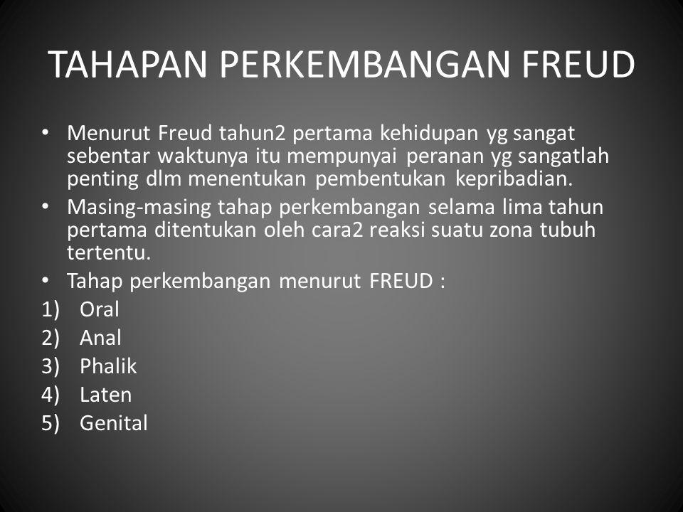 TAHAPAN PERKEMBANGAN FREUD Menurut Freud tahun2 pertama kehidupan yg sangat sebentar waktunya itu mempunyai peranan yg sangatlah penting dlm menentuka