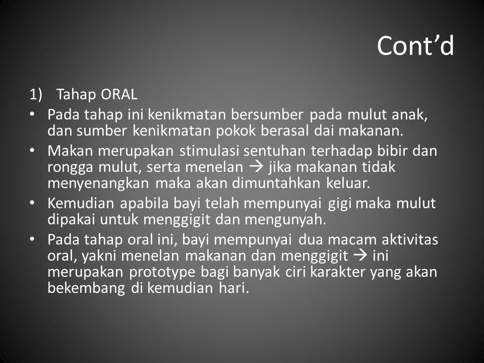 Cont'd 1)Tahap ORAL Pada tahap ini kenikmatan bersumber pada mulut anak, dan sumber kenikmatan pokok berasal dai makanan. Makan merupakan stimulasi se