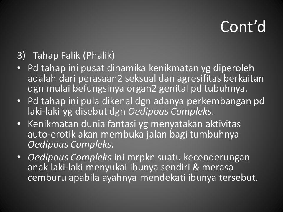 Cont'd 3)Tahap Falik (Phalik) Pd tahap ini pusat dinamika kenikmatan yg diperoleh adalah dari perasaan2 seksual dan agresifitas berkaitan dgn mulai be
