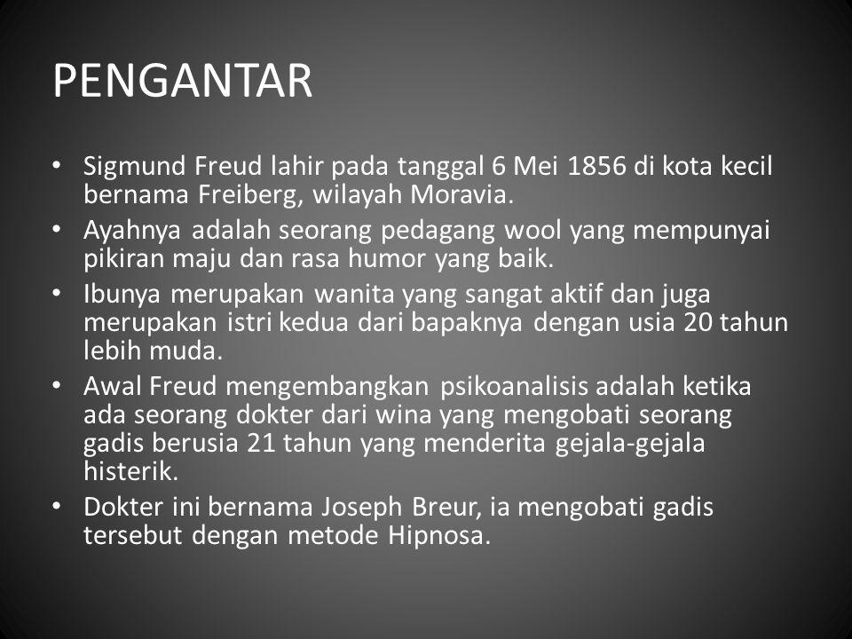 PENGANTAR Sigmund Freud lahir pada tanggal 6 Mei 1856 di kota kecil bernama Freiberg, wilayah Moravia. Ayahnya adalah seorang pedagang wool yang mempu