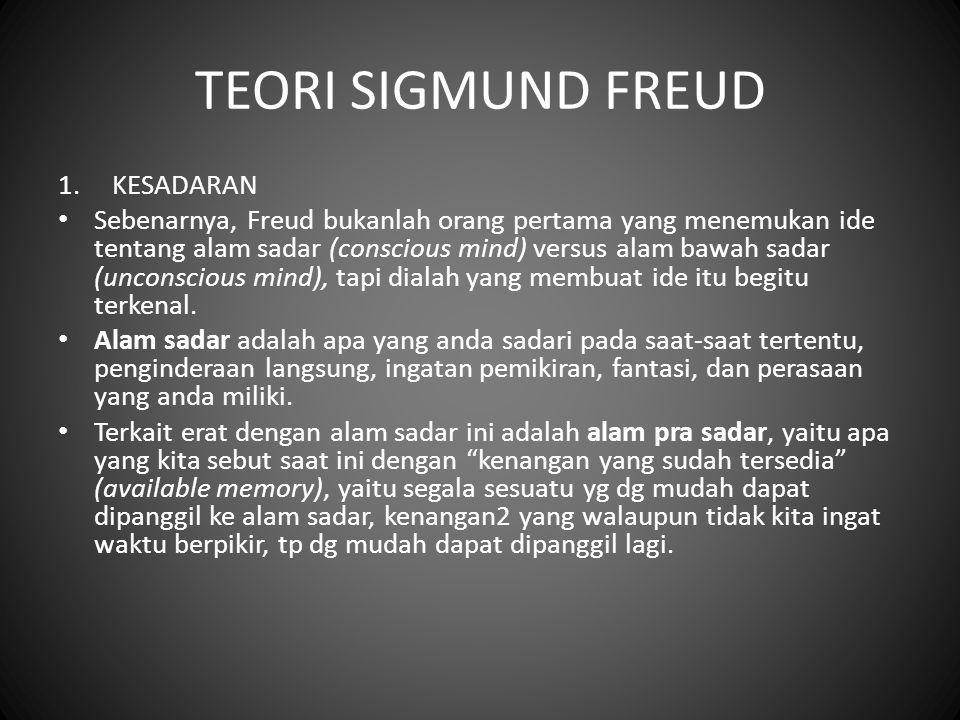 TEORI SIGMUND FREUD 1.KESADARAN Sebenarnya, Freud bukanlah orang pertama yang menemukan ide tentang alam sadar (conscious mind) versus alam bawah sada