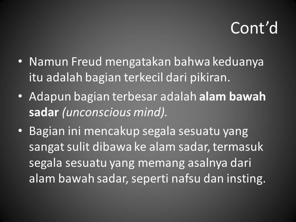 Cont'd Namun Freud mengatakan bahwa keduanya itu adalah bagian terkecil dari pikiran. Adapun bagian terbesar adalah alam bawah sadar (unconscious mind