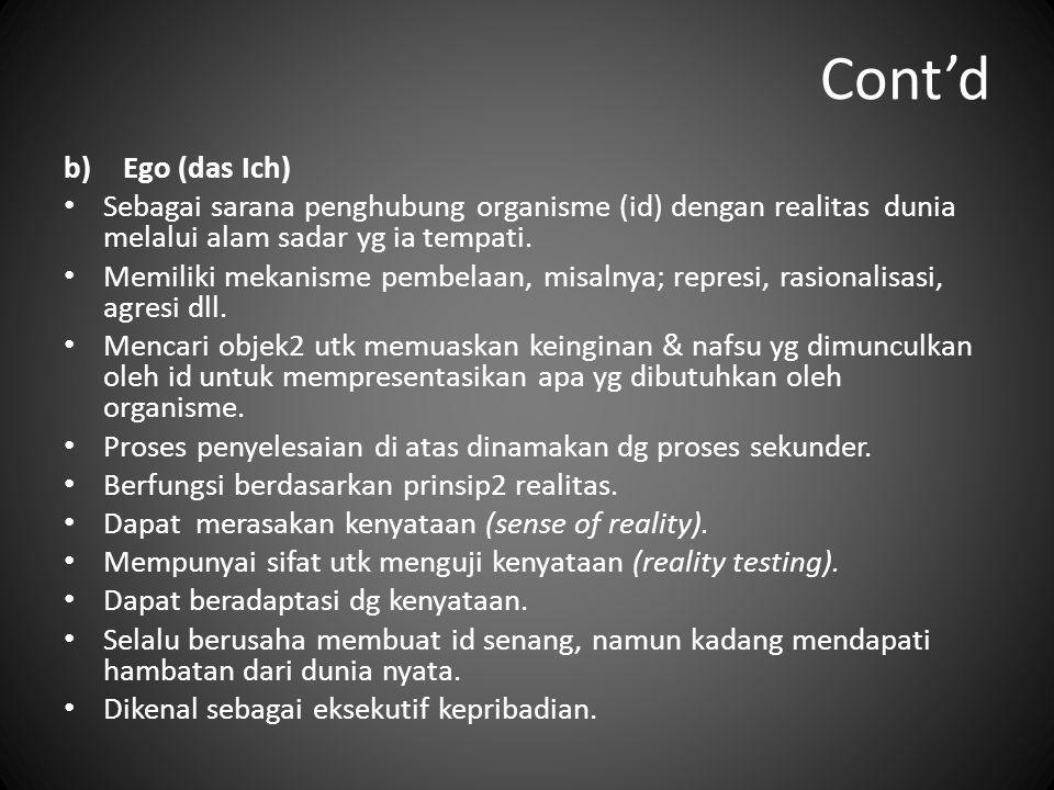 Cont'd b)Ego (das Ich) Sebagai sarana penghubung organisme (id) dengan realitas dunia melalui alam sadar yg ia tempati. Memiliki mekanisme pembelaan,