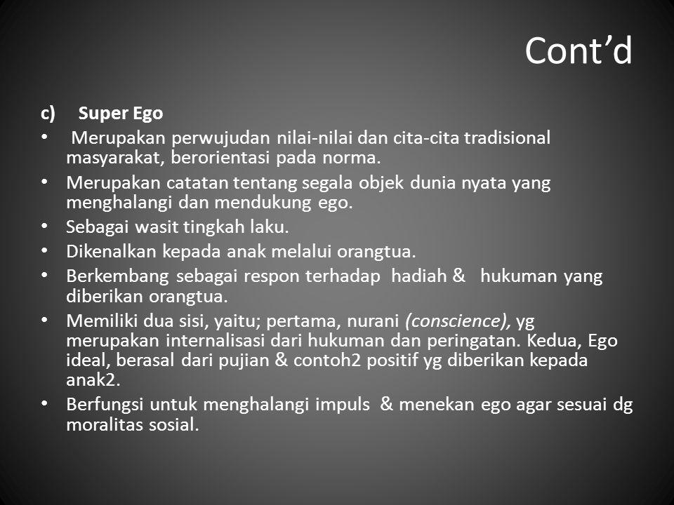Cont'd c)Super Ego Merupakan perwujudan nilai-nilai dan cita-cita tradisional masyarakat, berorientasi pada norma. Merupakan catatan tentang segala ob