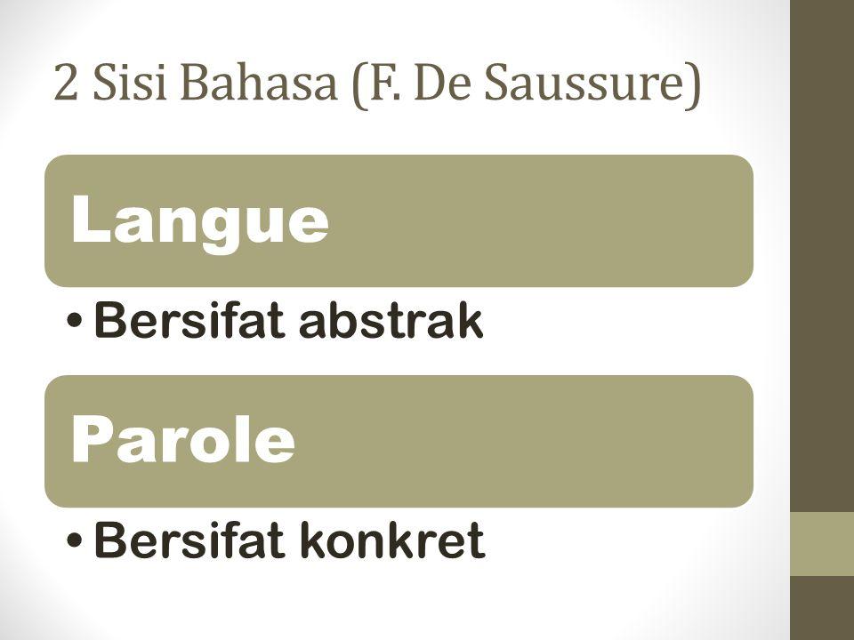 2 Sisi Bahasa (F. De Saussure) Langue Bersifat abstrak Parole Bersifat konkret