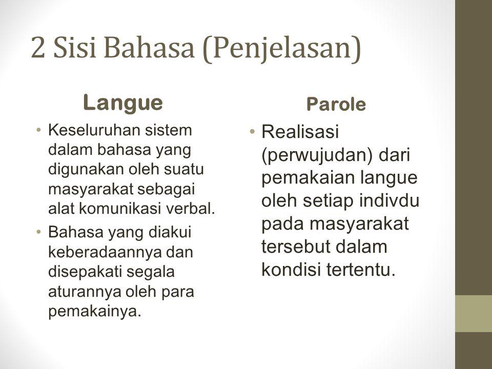 2 Sisi Bahasa (Penjelasan) Langue Keseluruhan sistem dalam bahasa yang digunakan oleh suatu masyarakat sebagai alat komunikasi verbal. Bahasa yang dia