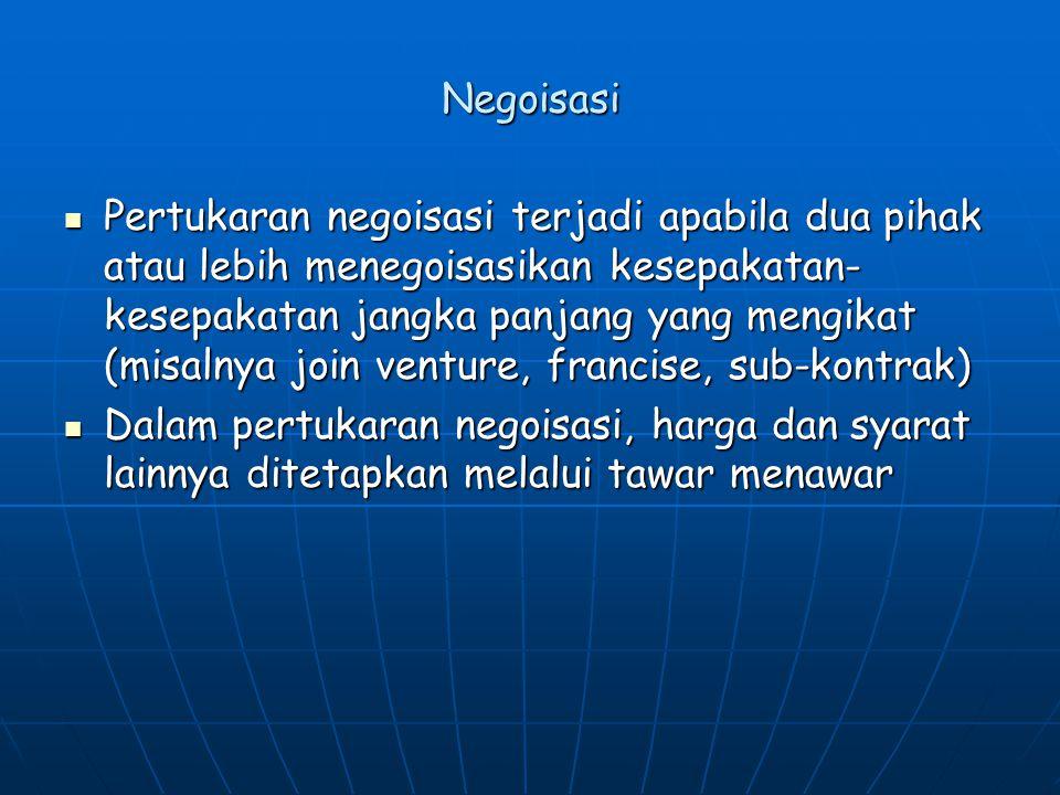 Negoisasi Pertukaran negoisasi terjadi apabila dua pihak atau lebih menegoisasikan kesepakatan- kesepakatan jangka panjang yang mengikat (misalnya joi