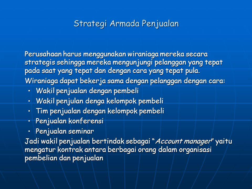 Strategi Armada Penjualan Perusahaan harus menggunakan wiraniaga mereka secara strategis sehingga mereka mengunjungi pelanggan yang tepat pada saat ya
