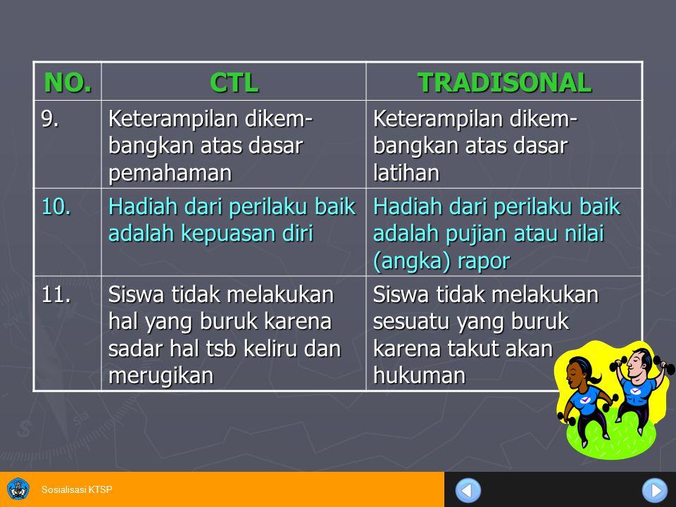 Sosialisasi KTSP NO.CTLTRADISONAL 9. Keterampilan dikem- bangkan atas dasar pemahaman Keterampilan dikem- bangkan atas dasar latihan 10. Hadiah dari p