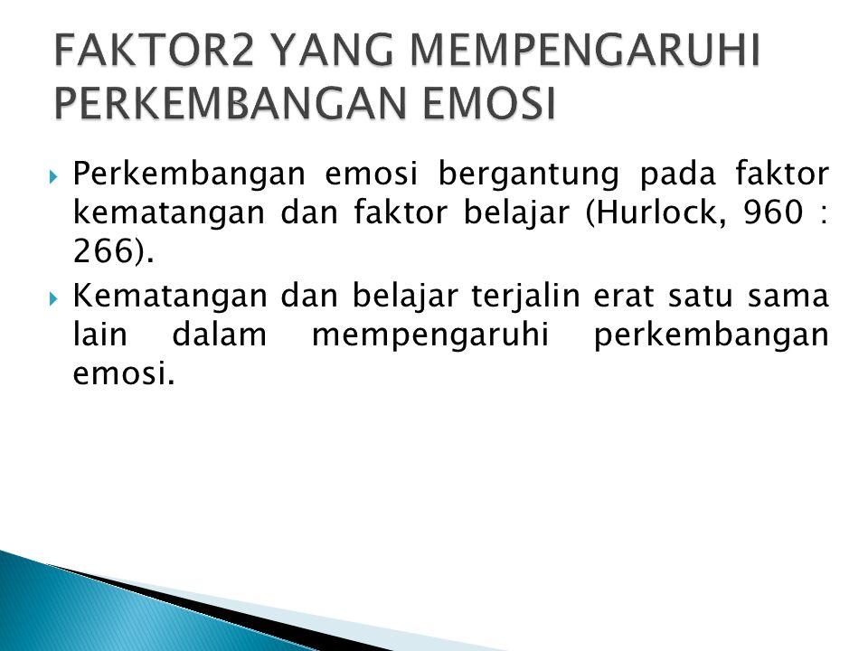  Perkembangan emosi bergantung pada faktor kematangan dan faktor belajar (Hurlock, 960 : 266).  Kematangan dan belajar terjalin erat satu sama lain