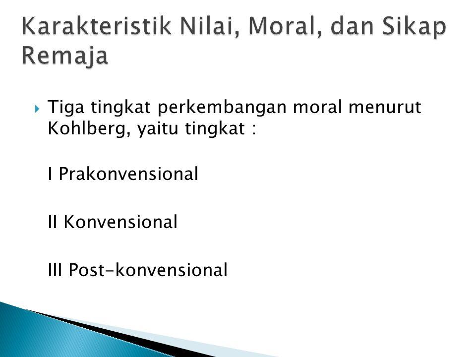  Tiga tingkat perkembangan moral menurut Kohlberg, yaitu tingkat : I Prakonvensional II Konvensional III Post-konvensional