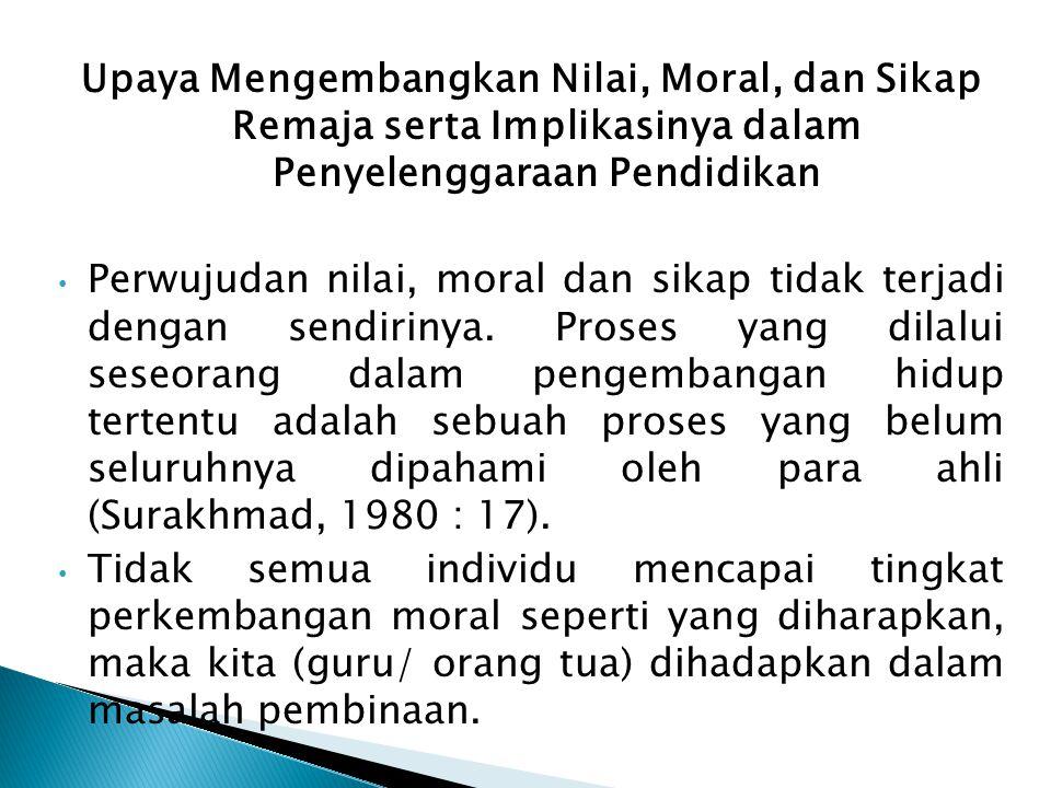 Upaya Mengembangkan Nilai, Moral, dan Sikap Remaja serta Implikasinya dalam Penyelenggaraan Pendidikan Perwujudan nilai, moral dan sikap tidak terjadi