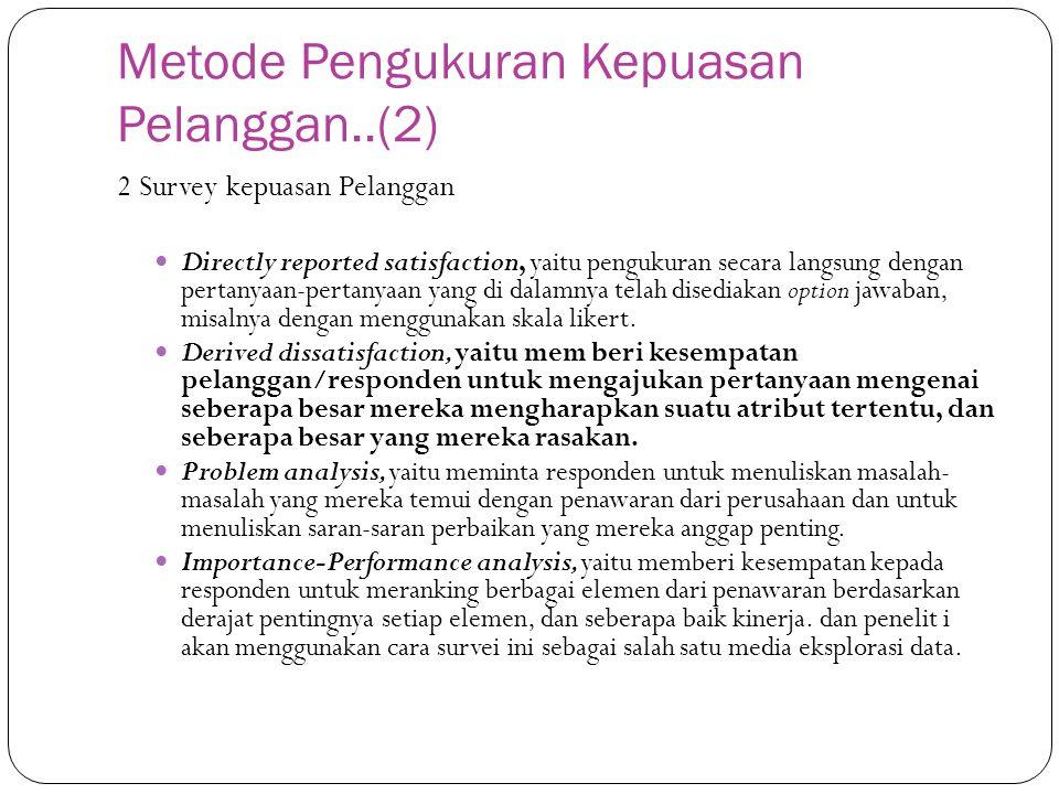 Metode Pengukuran Kepuasan Pelanggan..(2) 2 Survey kepuasan Pelanggan Directly reported satisfaction, yaitu pengukuran secara langsung dengan pertanya