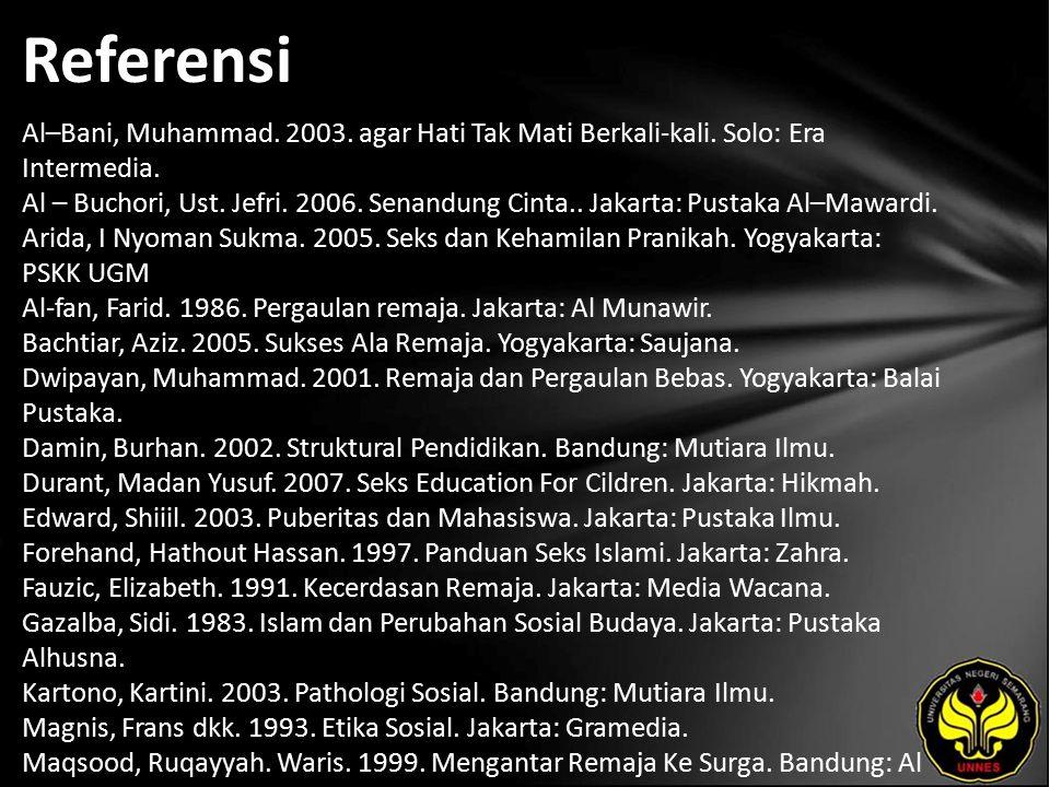 Referensi Al–Bani, Muhammad. 2003. agar Hati Tak Mati Berkali-kali.