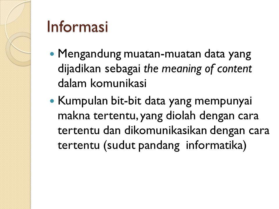 Informasi Mengandung muatan-muatan data yang dijadikan sebagai the meaning of content dalam komunikasi Kumpulan bit-bit data yang mempunyai makna tertentu, yang diolah dengan cara tertentu dan dikomunikasikan dengan cara tertentu (sudut pandang informatika)
