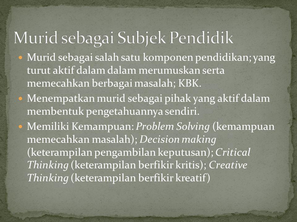 Murid sebagai salah satu komponen pendidikan; yang turut aktif dalam dalam merumuskan serta memecahkan berbagai masalah; KBK. Menempatkan murid sebaga