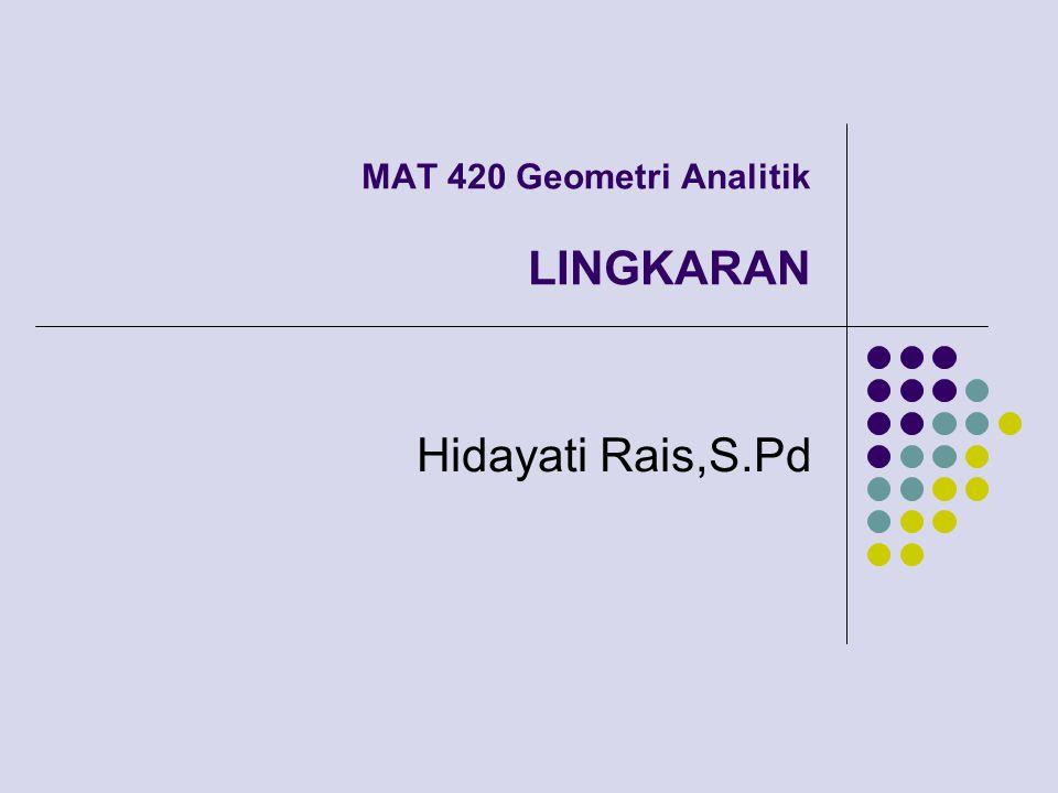 MAT 420 Geometri Analitik LINGKARAN Hidayati Rais,S.Pd